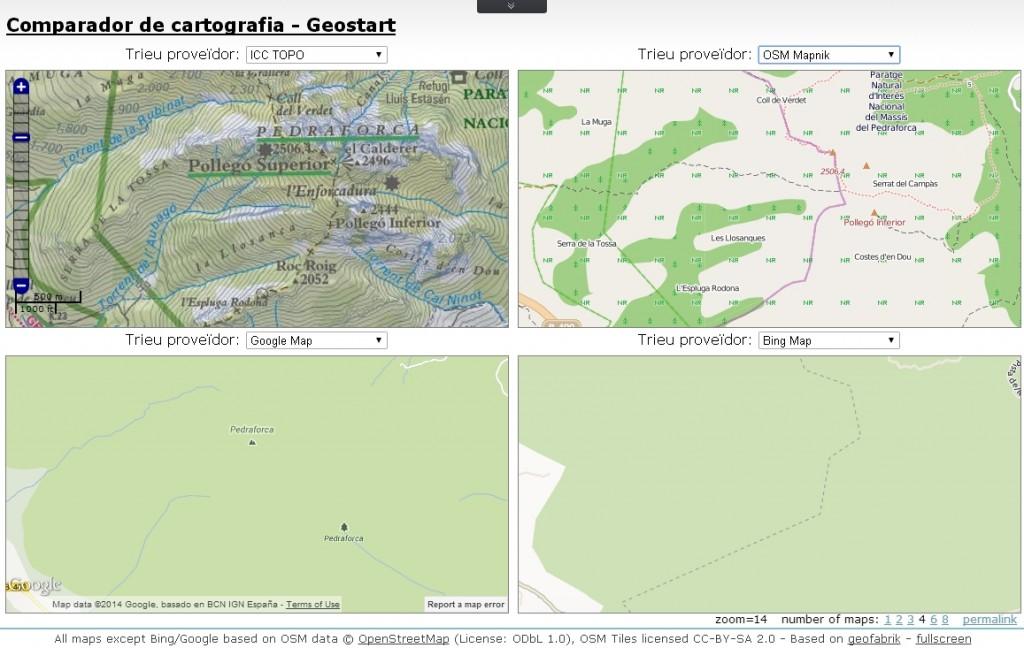 El comparador de la cartografia de l'ICC amb altres proveïdors d'Internet. Zona del Pedraforca