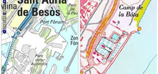 Comparador de cartografia ICC-IGN. Àrea del parc del Fòrum a Barcelona.