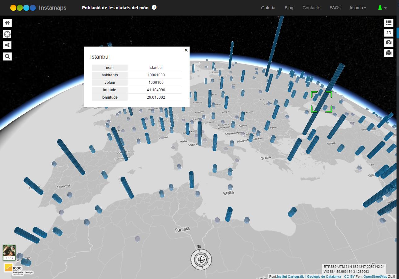 Instamaps 3D població ciutats món